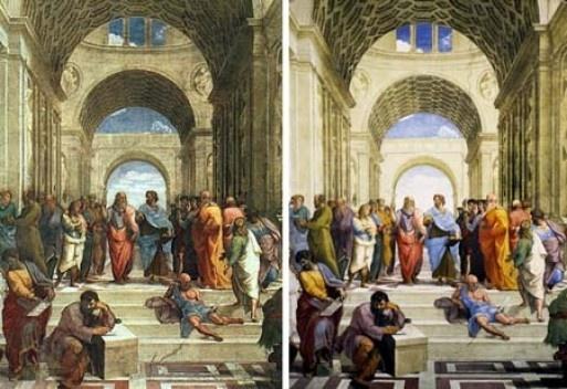 Escola de Atenas, Rafael, Capela Sistina. Antes e depois da restauração