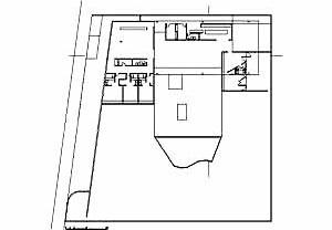 Planta da Residência James King, arquiteto Paulo Mendes da Rocha, 1980. Na planta percebe-se a organização em áreas distintas, tendo a grande sala como elemento de ligação<br />Desenho Ruth Verde Zein