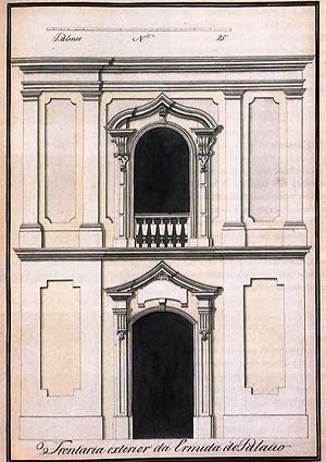 Fig. 6 – Fachada da Capela do Palácio dos Governadores [MEIRA FILHO, Augusto. O bi-secular Palácio de Landi. Belém: Grafisa, 1973, p. 49]
