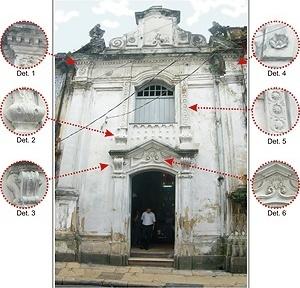 Fig. 11 - Fachada da Capela Pombo e detalhes dos elementos decorativos [Domingos Oliveira, 2007]