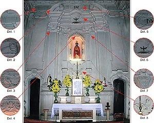 Fig. 14 - Retábulo do altar-mor da Capela Pombo [Domingos Oliveira, 2007]