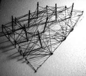 Maquete de Estudo de Kelly Cristina Damasceno Reis. Uma experiência de projeto com ênfase na modelagem manual. TFG apresentado à Faculdade de Arquitetura e Urbanismo do Centro Universitário Moura Lacerda em Ribeirão Preto, 2004