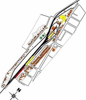 Implantação da Esplanada da NOB com os prédios levantados no inventario