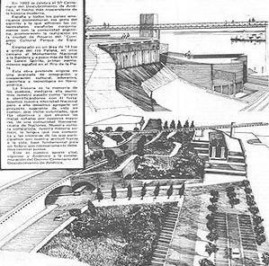 Perspectivas de setores do Parque España e do mirante que une o parque à quadrícula [Revista bio, marzo 1988, Rosario]