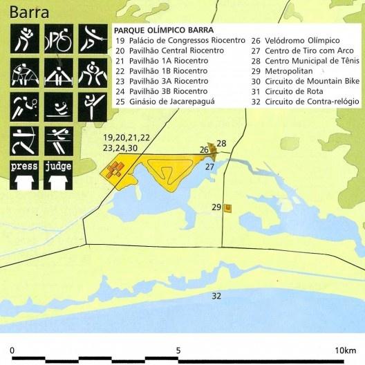 Parque Olímpico Barra , detalhe, mapa geral das instalações olímpicas na candidatura Rio 2004<br />Imagem divulgação  [Rio 2004, Rio de Janeiro candidate to host the XXVIII Olympic Games in 2004, v.2, 1996]