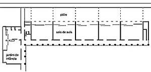 Plano esquemático da Bell Avenue School, Califórnia. Arquiteto Richard Neutra (fonte: Lamprecht, 2000: 112)