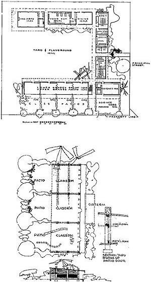 Plano de escola urbana de 8 salas de aula; esquema de sala de aula e detalhe da construção. Arquiteto Richard Neutra (Neutra, 1948: 89 e 49)