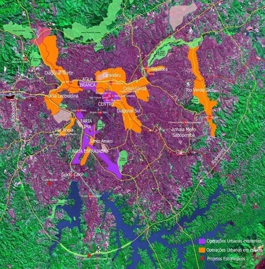 PDE: Operação Urbana: localização das operações urbanas em São Paulo: vigentes (lilás) propostas no PDE 2002 (laranja) [SEMPLA/PMSP]