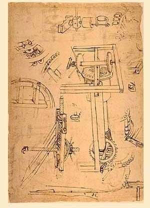 Desenho de maquinário, de Brunelleschi