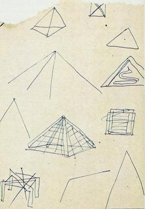 Esboços para pirâmide e, abaixo, à esquerda, estrutura de pórticos cruzados (riscada, decerto descartando momentaneamente a idéia) [Instituto Lina Bo e Pietro Maria Bardi, doravante ILBPMB]