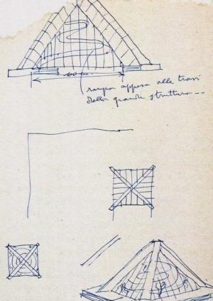 Croquis do arquivo de Lina Bo Bardi (ILBPMB). Indicação da rampa interna e da cota do vão de 100 m