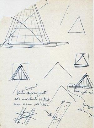 Croquis do arquivo de Lina Bo Bardi (ILBPMB). Indicação dos triângulos isósceles, da piazzale e do detalhe de sobreposição dos vidros