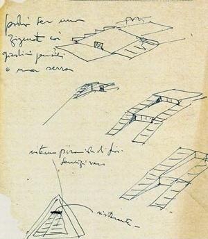 """Croquis do arquivo de Lina Bo Bardi (ILBPMB). """"Podia ser um zigurate com jardins suspensos ou uma estufa"""". """"Interno pirâmide de flores"""". """"Restaurante"""""""