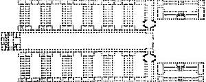 Figura 05 – Real Hospital Naval, Greenwich, projeto não executado (Christopher Wren) [PEVSNER, N.. História de las tipologias arquitectónicas. Barcelona: Gustavo Gili, 1980, p ]