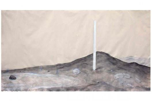 Bel Falleiros, sobre pedra e água_Sul, 2013, tinta acrílica, grafite e giz pastel sobre algodão cru<br />Divulgação