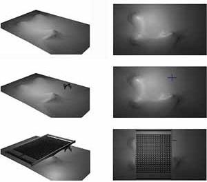 Seqüência de diagramas, relevo, marco, cobertura [Modelo eletrônico por David Sperling e Daniel Argoud]