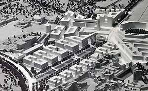 Plano geral de Potsdamer Platz, Berlim. Arquitetos Hilmer e Sattler