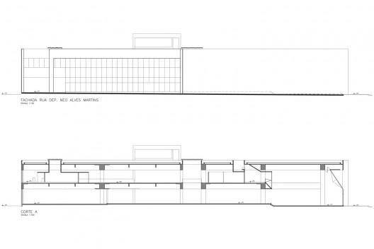 Redesenho da prancha 04/06 – fachada e corte do projeto legal<br />Elaboração dos autores