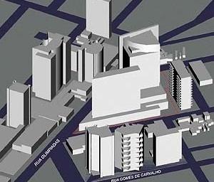 Operação Urbana Faria Lima: esquema volumétrico da paisagem transformada (cruzamento Faria Lima x Juscelino Kubitschek [SEMPLA/PMSP]