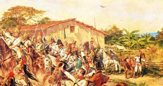"""No canto esquerdo da pintura, em pé, um civil branco de cartola empunha um guarda-chuva como uma espada. Pedro Américo, """"Independência ou Morte"""" (detalhe), 1888<br />Imagem divulgação  [Museu Paulista da USP]"""