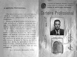 Carteira profissional de Giorgio Compagno, por ocasião de sua admissão na empresa<br />Foto Henrique Caruso