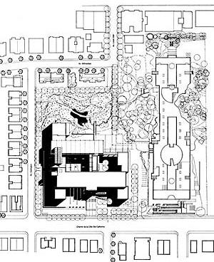 """Concurso da """"Faculté de l'Aménagement"""", 1994. Painel de apresentação, projeto premiado :Saucier + Perrotte / René Menkès Architectes. Deshaies, Raymond / Blondin, Barone, Architectes-Paysagistes [Laboratoire d'Étude de l'Architecture Potentielle.]"""