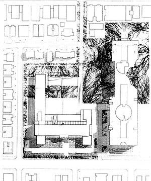 """Concurso da """"Faculté de l'Aménagement"""", 1994. Painel de apresentação, projeto 2. Saia et Barbarese, Architect. Cormier St-Denis, architectes-paysagistes [Laboratoire d'Étude de l'Architecture Potentielle.]"""
