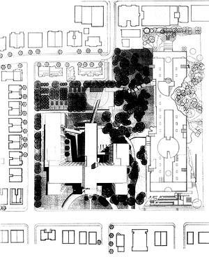 """Concurso da """"Faculté de l'Aménagement"""", 1994. Painel de apresentação, projeto 3. Lemoyne Lapointe Magne, Lemay et associés Arch. et Urbanistes Marc Fauteux et associés, architectes-paysagistes [Laboratoire d'Étude de l'Architecture Potentielle.]"""