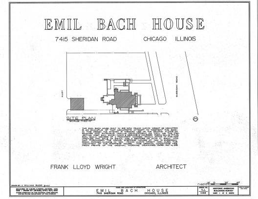 Emil Bach House, implantação, North Sheridan Road, Chicago, Estados Unidos, 1915. Arquiteto Frank Lloyd Wright<br />Redesenho J. William Rudd, 1965  [Library of Congress / U.S. Government]