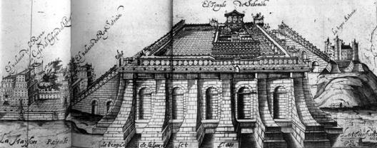 Gravura mostrando a possível aparência do Templo de Salomão. Autoria do Rabino Jacob Judah Leon. Amsterdam, 1642. [MEEK, 1996, p. 37]