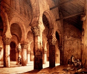 Sinagoga de Sta. Maria La Blanca, Toledo, Espanha, séc. XVIII. Posteriormente convertida à igreja pelos Reis Católicos.  [MEEK, 1996, p. 105]
