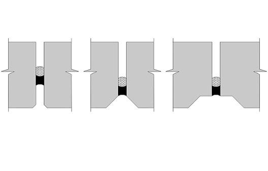 Tipos de junta entre painéis preenchidas com selante a base de silicone sobre perfil limitador de profundidade