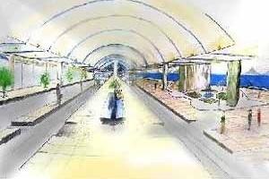 Figura 4 – Tratamento plástico sob o Viaduto da Perimetral<br />Desenho Filippe de Souza Cabral