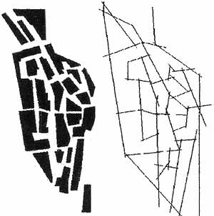 Diagramas: 1. G; espaços abertos segundo Hillier e Hanson; 2.  G; mapa axial, segundo Hillier e Hanson