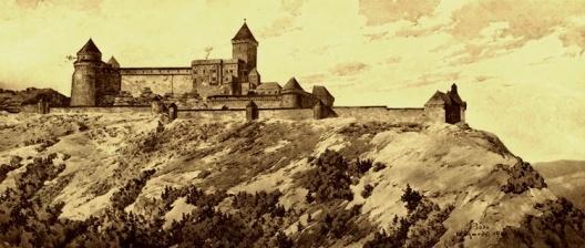 O castelo Hohkönisburg. Aquarela de Bodo Ebhardt publicada no memorial do autor, 1900 [EBHARDT, Bodo. Denkschrift über die Wiederherstellung der Hohkönigsburg bei Schlettstadt i]
