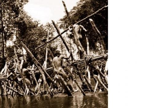 Construção de barragens para receber as armadilhas de pesca, parte dos rituais do Enawene Nawe, Mato Grosso<br />Foto divulgação  [Portal Iphan]