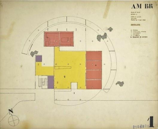 Embaixada da França, Chancelaria, planta térreo, Brasília, 1962-1964, arquiteto Le Corbusier<br />Imagem divulgação  [Fondation Le Corbusier]