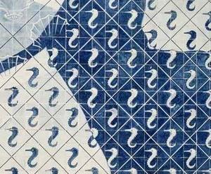 Detalhes de Conchas e Hipocampo – azulejos 15 x 15 – Portinari [www.ceramicanorio.com/paineis.html]
