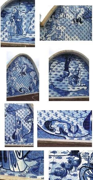 Detalhes  - Painel São Francisco de Assis -  Igreja de São Francisco – Pampulha – Belo Horizonte – 1944<br />Foto Renato Wande  [www.ceramicanorio.com/paineis.html]
