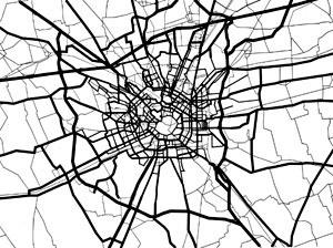 Estrutura radioconcêntrica de circulação da área central Milão 2007