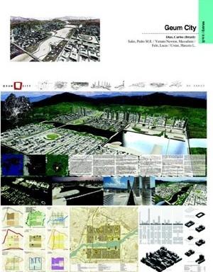 Estrutura, forma e paisagem: projeto para concurso para cidade multifuncional na Coréia da equipe de C. Dias, da qual o autor fez parte