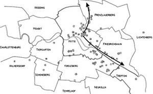 Mapeamento da mudança de clubes pela zona central de Berlim de 1994 até 2002. Elaboração própria de dados de Flyer Magazine, em relação à vida noturna