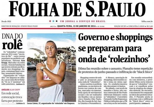 Capa do jornal Folha de São Paulo de 15 de janeiro de 2014, que noticiou o rolezinho [Acervo Folha]