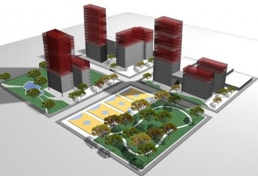 Outorga onerosa do direito de construir em área de operação urbana. Marrom: potencial adicional de construção; amarelo: contrapartida<br />Imagem divulgação  [Website Secretaria Municipal de Urbanismo e Licenciamento]