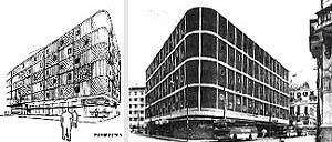 Edifício Luciano Costa: croqui de Delfim Amorim<br />Foto Geraldo Gomes