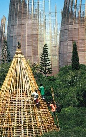 Centro Cultural Jean Marie Tijibaou, relação com as cabanas nativas [www.rpbw.com]