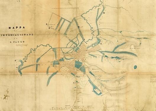 Mappa da Imperial Cidade de São Paulo – leventada particularmente para os meus servisos geodésicos e hydraulicos. Carlos Rath, São Paulo, 1855 [Ver nota 35]