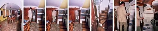 Estrechamiento y ascensión al dormitorio de La Chascona desde el comedor<br />Foto Nuria Álvarez Lombardero