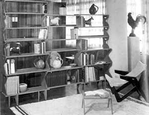 Giancarlo Palanti, estante de livros, Studio de Arte Palma [Habitat n. 1, 1950]