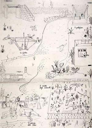 """Ilustração para contos infantis, Itália, 1942. Formas-tipo: """"o pavilhão"""", """"o recinto para os animais"""", """"a piazzale de esculturas"""" e """"o carrossel"""""""